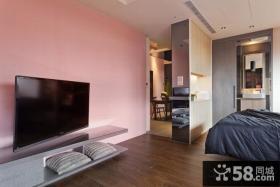 现代混搭家居小电视背景墙装修效果图