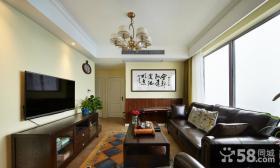美式混搭风格三居室设计效果图片
