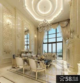 欧式风格别墅客厅吊顶造型图片