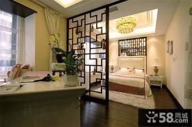 古典中式卧室隔断家居设计效果图