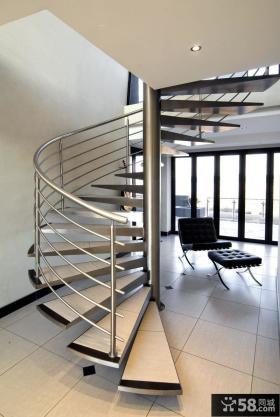 现代复式楼旋转楼梯图片