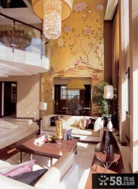 新中式风格别墅客厅设计图片2014