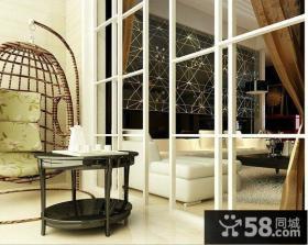 简约风格客厅与阳台隔断效果图