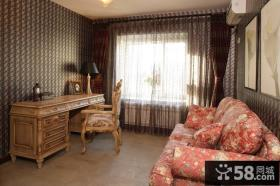 美式乡村风格书房落地窗帘装修效果图片