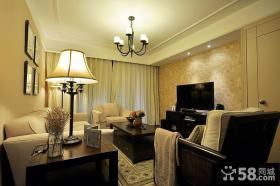 简约美式客厅壁纸电视背景墙效果图