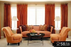 美式客厅落地窗帘效果图欣赏