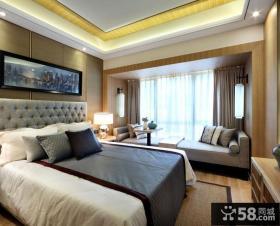 中式现代设计别墅卧室效果图