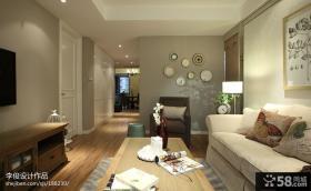 现代美式风格客厅布沙发照片墙图片