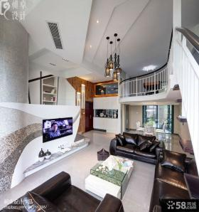 复式别墅客厅吊顶装修效果图2013图片