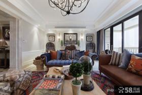 新楼房样板房客厅石膏线条吊顶灯窗帘通阳台大门设计