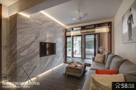 现代风格两房两厅客厅石材电视背景墙效果图