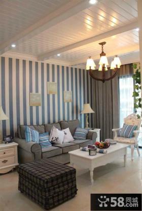 地中海风格客厅有梁吊顶装修效果图