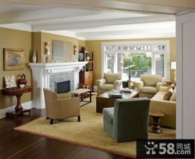 豪华现代元素的美式风格客厅装修效果图