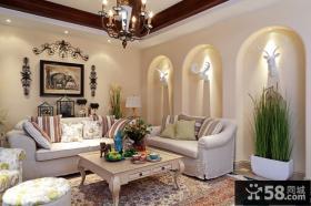 优雅美式田园风格客厅家居设计装修效果图