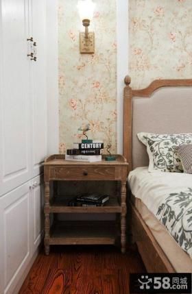 田园美式卧室仿古床头柜效果图