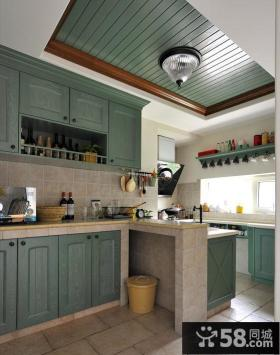 地中海风格厨房木板吊顶装修图