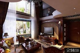 美式风格豪华别墅客厅电视背景墙