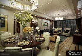 现代风格精装客餐厅吊顶图片