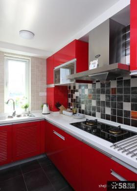 小复式楼装修效果图红色厨房装修效果图