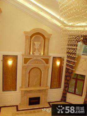 欧式别墅装修效果图 欧式别墅客厅壁炉背景墙