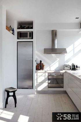 黑白简欧风格小户型厨房橱柜装效果图大全2014图片