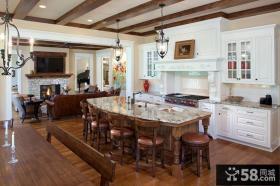 美式风格开放式厨房岛台设计效果图