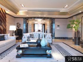 后现代风格别墅客厅装修家具布置