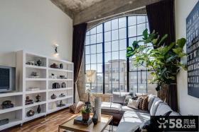 后现代风格复式室内落地窗设计图片
