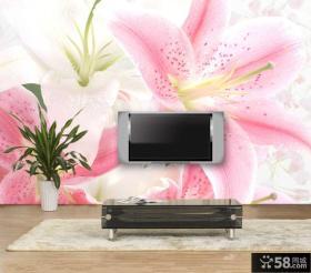 手绘客厅电视背景墙壁纸图片