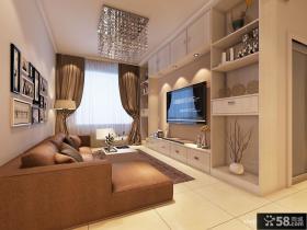 现代简约小客厅背景墙装修效果图