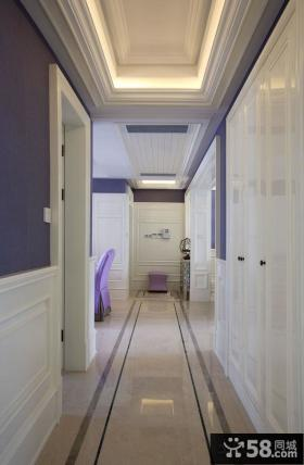 178平四居美式清新公寓过道装修图