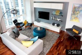 简欧公寓客厅电视背景墙装修效果图