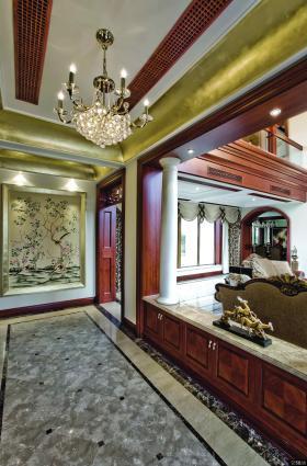古典欧式风格别墅室内走廊吊顶装饰效果图