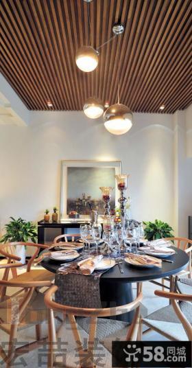现代两室两厅餐厅吊顶装修效果图