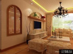 欧式田园风格房屋客厅电视背景墙装修设计图