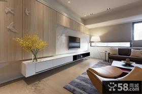 现代日式风格客厅电视背景墙图片