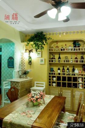 美式乡村风格70平米小户型餐厅背景墙装修效果图