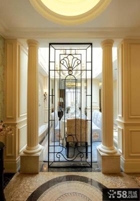 欧式风格家庭玄关隔断装修效果图片