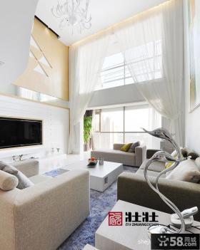 别墅挑高客厅窗帘效果图