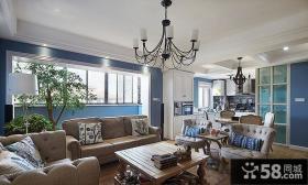 美式风格复式室内客厅设计装修效果图片