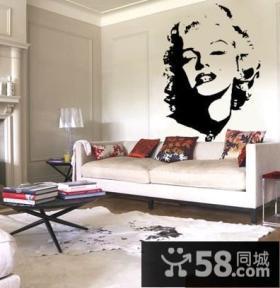 客厅 黑白线描抽象装饰画