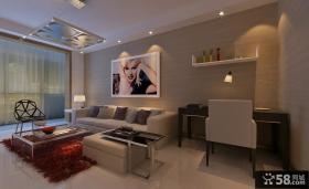 现代客厅小书房装修效果图