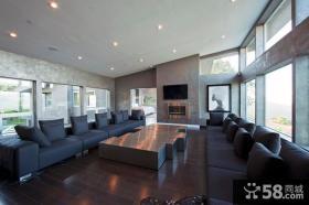 农村别墅双排客厅电视背景墙沙发装修效果图