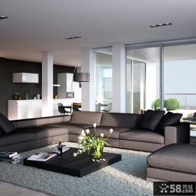 现代复式楼客厅沙发地毯装修效果图大全2013图片