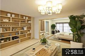 小户型中式装修客厅卧室一体效果图