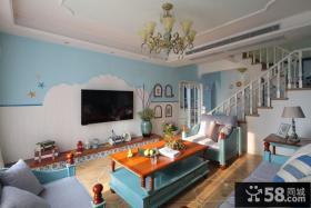 地中海装修设计复式客厅电视背景墙大全