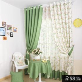 田园简约家居卧室窗帘效果图片