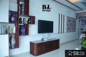 新中式客厅电视背景墙装饰效果图