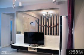 家装玻璃电视背景墙装修效果图