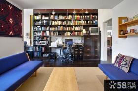 现代色彩明朗的复式楼书房装修效果图大全2014图片